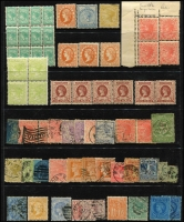 Lot 376:1870s-1900 Accumulation incl 1873-87 1/- blue, 1884-95 Stamp Duty 2/- apple green block of 4 (MUH/MLH), 1885 Stamp Duty Opts 3d yellow mint, 2/- used, 1899-1900 5d brown (6, strip of 4 & pair, MUH), 1901-10 1d corner block of 4 with double perfs on 2 units & double perfs in the margins, etc. Mixed condition. (70+)