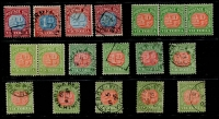Lot 375 [1 of 2]:1890-1909 Range incl 1890-94 ½d to 4d used, 1895-1908 ½d (5, toned gum, strip of 5 & a pair, MUH), ½d to 4d & ½d to 5d used also Customs Labels (mint) 3d, 6d & 1/- partially adhering to stockcard. Retail $225+. (21)