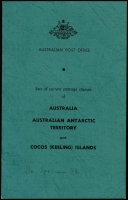 Lot 685 [2 of 3]:1963 Australia & Territories green folder with Australia ½d to 5/- CTO, (No Navigators), AAT issues, & Cocos (Keeling) Islands Picts (6, CTO), 1966 3c to 50c CTO, 75c to $4 optd 'SPECIMEN' with folder, and empty Postmaster-General's Department folder. (51 Stamps & 3 Folders.)