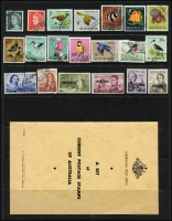 Lot 685 [1 of 3]:1963 Australia & Territories green folder with Australia ½d to 5/- CTO, (No Navigators), AAT issues, & Cocos (Keeling) Islands Picts (6, CTO), 1966 3c to 50c CTO, 75c to $4 optd 'SPECIMEN' with folder, and empty Postmaster-General's Department folder. (51 Stamps & 3 Folders.)