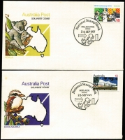 Lot 1130 [2 of 6]:1977, 80, 81 (2 Sets), 82 National Stamp Week sets. Maximum number of sets for the 1977 set is 487 [see Australian PictorMarks page 133] All unaddressed. Australian PictorMarks Cat A$325. (c.40)