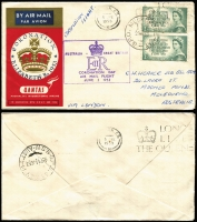 Lot 616 [2 of 9]:1953-82 Cover Selection Incl 1953 Coronation Flights to & from GB (5), plus WT Greig Coronation FDC several FDCs with 'Echuca Centenary' slogan cancels (4), 1954 PTPO 3d long window envelope for McEwan's, 1956 3½d envelope for The Myer Emporium, 1982 AUSTCERAM 82 Conference, set of 4 dates (machine cancel type, APM #12010) with no cachets. Also AAT 1954-55 covers with Heard Is (3), Mawson (3) & Macquarie Is (3) cds on PMG FDC evelopes with special cachet at left. Mixed condition. (43 items)
