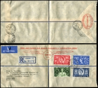 Lot 616 [3 of 9]:1953-82 Cover Selection Incl 1953 Coronation Flights to & from GB (5), plus WT Greig Coronation FDC several FDCs with 'Echuca Centenary' slogan cancels (4), 1954 PTPO 3d long window envelope for McEwan's, 1956 3½d envelope for The Myer Emporium, 1982 AUSTCERAM 82 Conference, set of 4 dates (machine cancel type, APM #12010) with no cachets. Also AAT 1954-55 covers with Heard Is (3), Mawson (3) & Macquarie Is (3) cds on PMG FDC evelopes with special cachet at left. Mixed condition. (43 items)