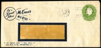 Lot 616 [1 of 9]:1953-82 Cover Selection Incl 1953 Coronation Flights to & from GB (5), plus WT Greig Coronation FDC several FDCs with 'Echuca Centenary' slogan cancels (4), 1954 PTPO 3d long window envelope for McEwan's, 1956 3½d envelope for The Myer Emporium, 1982 AUSTCERAM 82 Conference, set of 4 dates (machine cancel type, APM #12010) with no cachets. Also AAT 1954-55 covers with Heard Is (3), Mawson (3) & Macquarie Is (3) cds on PMG FDC evelopes with special cachet at left. Mixed condition. (43 items)