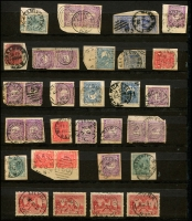 Lot 1141 [1 of 8]:1890-1930s: Interesting Colonial & KGV issues group with New South Wales, Queensland, South Australia, Tasmania, Victoria & Western Australia. Many circular datestamps, few multiples. Mixed condition. (270+)