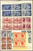 Lot 506 [4 of 8]:1927-66 Accumulation of blocks of 4 in small album with KGVI defins most to 1/-, later KGVI to 1/0½d, 1953 Food 3d block of 9, QEII 2/- (5 blocks), 2/3d (3 blocks), 1966 Decimals Fish, Navigators blocks 40c, 50c, 75c, $1 & $4, plus AAT 1957-59 issues. Mostly MUH. Generally fine. (140 blocks)