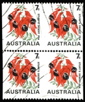 Lot 621:1971-74 7c Sturt's Desert Pea Coil block of 4 with horizontal units Imperf between. CTO. BW #535b, Cat $1,600.