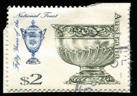 Lot 451 [3 of 4]:1995 Fifty Years of the National Trust $1 & $2 perforated Plate Proofs MUH in deep olive-green, marginal examples, mild bends, plus used normals for comparison, BW #1841PP-42PP, Cat $800. (4)