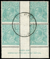 Lot 336:1/4d Turquoise-Blue imprint block of 4, indistinct NSW cds, BW #131z.