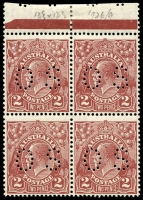 Lot 321 [2 of 2]:2d Red-Brown Die II perf 'OS' marginal block of 4, mounted in margin only. Also 3d Blue Die II perf 'OS' block of 4 [22-23,28-29] with perf separation on upper units, lower units MUH. Unit 23 BW #108n, Unit 29 BW #108o. (8)
