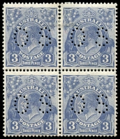 Lot 321 [1 of 2]:2d Red-Brown Die II perf 'OS' marginal block of 4, mounted in margin only. Also 3d Blue Die II perf 'OS' block of 4 [22-23,28-29] with perf separation on upper units, lower units MUH. Unit 23 BW #108n, Unit 29 BW #108o. (8)