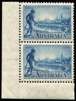 Lot 367 [2 of 2]:1931 Kingsford Smith 6d vertical pair one unit Re-entry to 'T' of 'AUSTRALIA', 'FO' of 'FORD' & 'LD' of 'WORLD' in pair with normal (VLM), 1934 Vic Centenary P11½ 3d corner pair, lower unit (MUH) with Flag right of tower nearest native's hand, BW #143d,152d. (4)