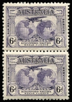 Lot 367 [1 of 2]:1931 Kingsford Smith 6d vertical pair one unit Re-entry to 'T' of 'AUSTRALIA', 'FO' of 'FORD' & 'LD' of 'WORLD' in pair with normal (VLM), 1934 Vic Centenary P11½ 3d corner pair, lower unit (MUH) with Flag right of tower nearest native's hand, BW #143d,152d. (4)