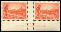 Lot 576 [2 of 3]:1934 Victorian Centenary Perf 11½ Ash imprint pairs, BW #154-56. Very lightly mounted. (3 pairs)