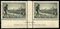 Lot 576 [1 of 3]:1934 Victorian Centenary Perf 11½ Ash imprint pairs, BW #154-56. Very lightly mounted. (3 pairs)