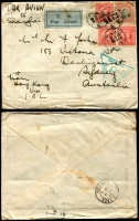 Lot 1397 [3 of 4]:1940 (Jun-Nov) censored covers (4, one from Shanghai & three from Tsingtao) to same addressee in NSW bearing Hong Kong triangular Censor mark '9' in violet (3) or green. One cover is double Censored and two covers have small boxed no. '11' in violet or '15' in green on the reverse. All with Victoria/Hong Kong transit cancels on reverse. Very mixed condition. (4)