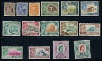 Lot 1401 [2 of 2]:1938-51 KGVI Pictorials (19), fine used. 1955-60 Pictorials (15, mint, hinge remains), SG #151-63,173-87, Cat £165. (34)