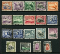 Lot 1401 [1 of 2]:1938-51 KGVI Pictorials (19), fine used. 1955-60 Pictorials (15, mint, hinge remains), SG #151-63,173-87, Cat £165. (34)