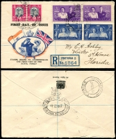 Lot 931 [5 of 7]:British Commonwealth Covers 1908-40s selection incl Bahamas 1915 PPC from GB with poor strike of 'SIMM[S]/LONG ISL[AND] cds (D2 - not seen by Proud), 1946 poor strike of oval 'SIMM[S]