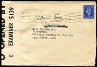 Lot 938 [2 of 7]:Censored Covers range from Canada (no date) large (50x22mm) boxed PASSED BY/CENSOR' in blue to Coast Guard, USA. Newfoundland 1942 to same addressee with unframed (55x17mm) 'PASSED BY/CENSOR'. Great Britain 4 covers to USA (3 'Opened by Examiner' tape, one handstamp boxed 'RELEASED BY/CENSOR' in red). Kenya 1944 cover from South Africa with Kenya Censor tape. South Africa 1944 cover to USA with bi-lingual Sth African tape. Generally fine. (10 items)