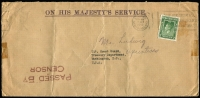 Lot 938 [3 of 7]:Censored Covers range from Canada (no date) large (50x22mm) boxed PASSED BY/CENSOR' in blue to Coast Guard, USA. Newfoundland 1942 to same addressee with unframed (55x17mm) 'PASSED BY/CENSOR'. Great Britain 4 covers to USA (3 'Opened by Examiner' tape, one handstamp boxed 'RELEASED BY/CENSOR' in red). Kenya 1944 cover from South Africa with Kenya Censor tape. South Africa 1944 cover to USA with bi-lingual Sth African tape. Generally fine. (10 items)