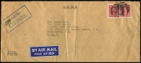 Lot 938 [4 of 7]:Censored Covers range from Canada (no date) large (50x22mm) boxed PASSED BY/CENSOR' in blue to Coast Guard, USA. Newfoundland 1942 to same addressee with unframed (55x17mm) 'PASSED BY/CENSOR'. Great Britain 4 covers to USA (3 'Opened by Examiner' tape, one handstamp boxed 'RELEASED BY/CENSOR' in red). Kenya 1944 cover from South Africa with Kenya Censor tape. South Africa 1944 cover to USA with bi-lingual Sth African tape. Generally fine. (10 items)