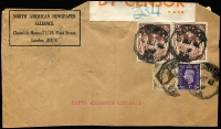 Lot 938 [6 of 7]:Censored Covers range from Canada (no date) large (50x22mm) boxed PASSED BY/CENSOR' in blue to Coast Guard, USA. Newfoundland 1942 to same addressee with unframed (55x17mm) 'PASSED BY/CENSOR'. Great Britain 4 covers to USA (3 'Opened by Examiner' tape, one handstamp boxed 'RELEASED BY/CENSOR' in red). Kenya 1944 cover from South Africa with Kenya Censor tape. South Africa 1944 cover to USA with bi-lingual Sth African tape. Generally fine. (10 items)