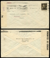 Lot 938 [1 of 7]:Censored Covers range from Canada (no date) large (50x22mm) boxed PASSED BY/CENSOR' in blue to Coast Guard, USA. Newfoundland 1942 to same addressee with unframed (55x17mm) 'PASSED BY/CENSOR'. Great Britain 4 covers to USA (3 'Opened by Examiner' tape, one handstamp boxed 'RELEASED BY/CENSOR' in red). Kenya 1944 cover from South Africa with Kenya Censor tape. South Africa 1944 cover to USA with bi-lingual Sth African tape. Generally fine. (10 items)