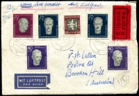 Lot 971 [6 of 7]:World Covers 1950s-80s in album with strength in FDCs from Australia, AAT 1959 2/- (4 different Base cancels), Austria, Fiji, Great Britain, New Zealand, Norfolk Island, PNG incl 1962 SP Conference, Perth Games, UN, USA various Art Craft covers, few commem covers, some unaddressed. (75+)