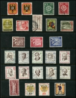 Lot 1429 [3 of 8]:1949 Buildings complete to 1965 (ex 1949 Relief Fund & M/S, 1964 commems) on 13 Hagners with range of later issues to 1992, also additional 1952 Olympics (4, on piece), 1953 Church (4, on piece), several issues on pieces with commem cancels. Catalogue including additional issues STC £2,750. Very fine used throughout. (288 items)