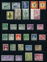Lot 1429 [4 of 8]:1949 Buildings complete to 1965 (ex 1949 Relief Fund & M/S, 1964 commems) on 13 Hagners with range of later issues to 1992, also additional 1952 Olympics (4, on piece), 1953 Church (4, on piece), several issues on pieces with commem cancels. Catalogue including additional issues STC £2,750. Very fine used throughout. (288 items)