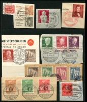 Lot 1429 [6 of 8]:1949 Buildings complete to 1965 (ex 1949 Relief Fund & M/S, 1964 commems) on 13 Hagners with range of later issues to 1992, also additional 1952 Olympics (4, on piece), 1953 Church (4, on piece), several issues on pieces with commem cancels. Catalogue including additional issues STC £2,750. Very fine used throughout. (288 items)