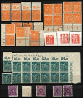 Lot 1422 [2 of 9]:1902-20 Accumulation in sparsely filled 64 page stockbook of mint & used defins in blocks, pairs, strips, etc, some marginal, incl Deutsch Reich 2m, Blacksmiths, Miners, Reapers, Posthorns 50pf corner block of 6 with variety Paper fold prior to printing, Ploughman, etc. Many with guarantee handstamps on reverse. STC A$2,000. (c.1,150)