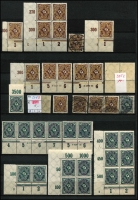 Lot 1422 [3 of 9]:1902-20 Accumulation in sparsely filled 64 page stockbook of mint & used defins in blocks, pairs, strips, etc, some marginal, incl Deutsch Reich 2m, Blacksmiths, Miners, Reapers, Posthorns 50pf corner block of 6 with variety Paper fold prior to printing, Ploughman, etc. Many with guarantee handstamps on reverse. STC A$2,000. (c.1,150)