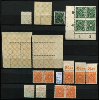 Lot 1422 [4 of 9]:1902-20 Accumulation in sparsely filled 64 page stockbook of mint & used defins in blocks, pairs, strips, etc, some marginal, incl Deutsch Reich 2m, Blacksmiths, Miners, Reapers, Posthorns 50pf corner block of 6 with variety Paper fold prior to printing, Ploughman, etc. Many with guarantee handstamps on reverse. STC A$2,000. (c.1,150)
