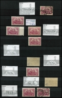 Lot 1422 [1 of 9]:1902-20 Accumulation in sparsely filled 64 page stockbook of mint & used defins in blocks, pairs, strips, etc, some marginal, incl Deutsch Reich 2m, Blacksmiths, Miners, Reapers, Posthorns 50pf corner block of 6 with variety Paper fold prior to printing, Ploughman, etc. Many with guarantee handstamps on reverse. STC A$2,000. (c.1,150)
