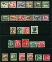 Lot 1423 [2 of 10]:1934-45 Collection on 11 Hagners incl 1934 Officials (12), Saar Plebescite (2), Hindenburg Memorial (6), 1935 Philatelic Exhibition block of 4 (no gum - see note in SG cat), Trains (4), 1936 Lufthansa, 1937 Hitler Culture Fund M/S (April 5), M/S (Jun 10), 1937 Brown Ribbon M/S with special red opt, 1938 Count Zeppelin (2), Winter Relief Fund (9), 1939 Motor Show opts (3), Postal Employees' Fund (12), 1940 Brown Ribbon, 1945 3rd Reich Anniv (2) many other sets throughout. STC £3,400+. (279 & 3 M/S)