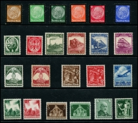 Lot 1423 [3 of 10]:1934-45 Collection on 11 Hagners incl 1934 Officials (12), Saar Plebescite (2), Hindenburg Memorial (6), 1935 Philatelic Exhibition block of 4 (no gum - see note in SG cat), Trains (4), 1936 Lufthansa, 1937 Hitler Culture Fund M/S (April 5), M/S (Jun 10), 1937 Brown Ribbon M/S with special red opt, 1938 Count Zeppelin (2), Winter Relief Fund (9), 1939 Motor Show opts (3), Postal Employees' Fund (12), 1940 Brown Ribbon, 1945 3rd Reich Anniv (2) many other sets throughout. STC £3,400+. (279 & 3 M/S)