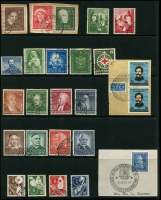 Lot 1428 [2 of 6]:1949-70s Collection on 5 Hagners incl 1949 Parliament (2 sets, one on piece), Stamp Centenary (2 sets, one on piece), UPU, Refugee's Fund (4), 1950 Bach (2), 1951 St Mary's Church (2), NABA (2), 1952 & 53 & 54 & 55 Relief Fund sets, 1953 Transport Exhibition (4), 1959 Church Day 10pf with printing flaw, Beethoven Hall M/S, also several tête-bêche pairs. Very fine throughout. STC £2,250+.