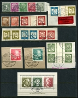 Lot 1428 [3 of 6]:1949-70s Collection on 5 Hagners incl 1949 Parliament (2 sets, one on piece), Stamp Centenary (2 sets, one on piece), UPU, Refugee's Fund (4), 1950 Bach (2), 1951 St Mary's Church (2), NABA (2), 1952 & 53 & 54 & 55 Relief Fund sets, 1953 Transport Exhibition (4), 1959 Church Day 10pf with printing flaw, Beethoven Hall M/S, also several tête-bêche pairs. Very fine throughout. STC £2,250+.