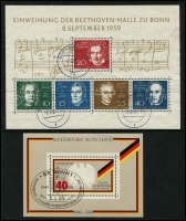 Lot 1428 [4 of 6]:1949-70s Collection on 5 Hagners incl 1949 Parliament (2 sets, one on piece), Stamp Centenary (2 sets, one on piece), UPU, Refugee's Fund (4), 1950 Bach (2), 1951 St Mary's Church (2), NABA (2), 1952 & 53 & 54 & 55 Relief Fund sets, 1953 Transport Exhibition (4), 1959 Church Day 10pf with printing flaw, Beethoven Hall M/S, also several tête-bêche pairs. Very fine throughout. STC £2,250+.