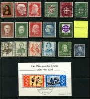 Lot 1428 [5 of 6]:1949-70s Collection on 5 Hagners incl 1949 Parliament (2 sets, one on piece), Stamp Centenary (2 sets, one on piece), UPU, Refugee's Fund (4), 1950 Bach (2), 1951 St Mary's Church (2), NABA (2), 1952 & 53 & 54 & 55 Relief Fund sets, 1953 Transport Exhibition (4), 1959 Church Day 10pf with printing flaw, Beethoven Hall M/S, also several tête-bêche pairs. Very fine throughout. STC £2,250+.