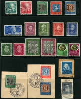 Lot 1428 [6 of 6]:1949-70s Collection on 5 Hagners incl 1949 Parliament (2 sets, one on piece), Stamp Centenary (2 sets, one on piece), UPU, Refugee's Fund (4), 1950 Bach (2), 1951 St Mary's Church (2), NABA (2), 1952 & 53 & 54 & 55 Relief Fund sets, 1953 Transport Exhibition (4), 1959 Church Day 10pf with printing flaw, Beethoven Hall M/S, also several tête-bêche pairs. Very fine throughout. STC £2,250+.
