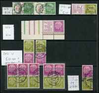 Lot 1427 [2 of 7]:1954-60 Heuss Collection incl numerous issues either MUH or fine used in strips, blocks, pairs, etc, 1957 fluorescent set of 7, Booklet panes & 10pf booklet complete, many other values included. Also 1952 Telephone Service fine used & West Berlin 1959 Heuss set of 5 in MUH marginal pairs. Very high catalogue value. (Few 100)