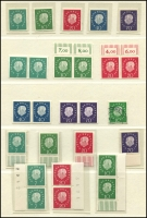 Lot 1427 [3 of 7]:1954-60 Heuss Collection incl numerous issues either MUH or fine used in strips, blocks, pairs, etc, 1957 fluorescent set of 7, Booklet panes & 10pf booklet complete, many other values included. Also 1952 Telephone Service fine used & West Berlin 1959 Heuss set of 5 in MUH marginal pairs. Very high catalogue value. (Few 100)