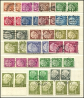 Lot 1427 [4 of 7]:1954-60 Heuss Collection incl numerous issues either MUH or fine used in strips, blocks, pairs, etc, 1957 fluorescent set of 7, Booklet panes & 10pf booklet complete, many other values included. Also 1952 Telephone Service fine used & West Berlin 1959 Heuss set of 5 in MUH marginal pairs. Very high catalogue value. (Few 100)