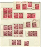 Lot 1427 [6 of 7]:1954-60 Heuss Collection incl numerous issues either MUH or fine used in strips, blocks, pairs, etc, 1957 fluorescent set of 7, Booklet panes & 10pf booklet complete, many other values included. Also 1952 Telephone Service fine used & West Berlin 1959 Heuss set of 5 in MUH marginal pairs. Very high catalogue value. (Few 100)