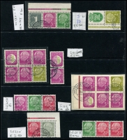 Lot 1427 [1 of 7]:1954-60 Heuss Collection incl numerous issues either MUH or fine used in strips, blocks, pairs, etc, 1957 fluorescent set of 7, Booklet panes & 10pf booklet complete, many other values included. Also 1952 Telephone Service fine used & West Berlin 1959 Heuss set of 5 in MUH marginal pairs. Very high catalogue value. (Few 100)