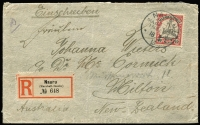 Lot 1578 [1 of 2]:1913 (Mar 18) Registered envelope to New Zealand with 1901 Yacht 40pf tied by 'NAURU/MARSHALL INSELN' cds alongside German type registration label (Burt NU1 rated RRR). New Zealand transit markings on reverse. Light central crease.