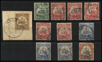Lot 1577 [2 of 2]:1901 Yacht selection incl 3pf on piece, 5pf, 10pf (7, incl a pair on piece), 20pf, (3) & 40pf. All with Nauru cancels. Mixed condition. (12 Items)